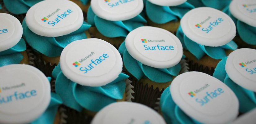 Mini corporate cupcakes with Microsoft Surface logo