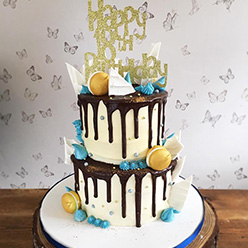 2 tier drippy birthday cake