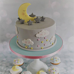 Moon and stars birthday cake