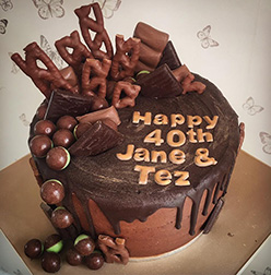 Chocolate overload drippy birthday cake
