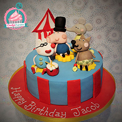 Peppa Pig circus themed birthday cake - Cupcakes and Celebration cakes