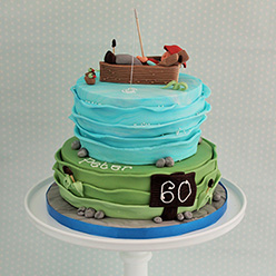 2 tier fishing birthday cake - Cupcakes and Celebration cakes