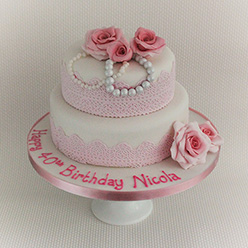 2 tier lace and pearl cake birthday cake - Cupcakes and Celebration cakes