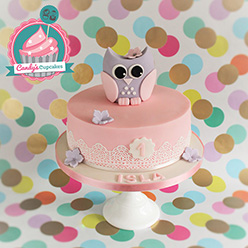 Single tier cute owl birthday cake - Cupcakes and Celebration cakes