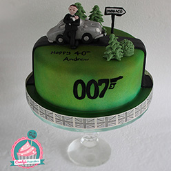 James Bond 007 and Aston Martin DB5 birthday cake - Cupcakes and Celebration cakes