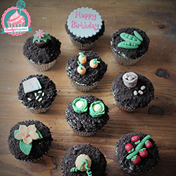 Gardening themed cupcakes with model peas, potatoes, carrots and tomatoes - Cupcakes and Celebration cakes