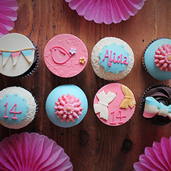 Pink and blue, bunting, birds, bows and flowers - Cupcakes and Celebration cakes