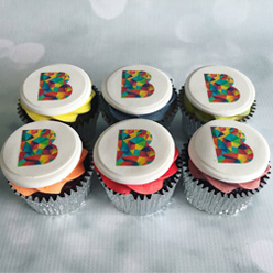 Branded cupcakes for B Works in Manchester