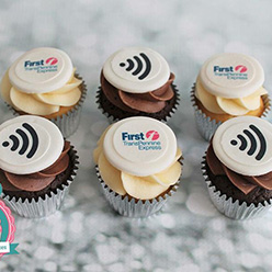 TransPenine Express corporate branded cupcakes