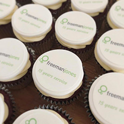 Freeman Jones corporate branded cupcakes