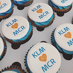KLM corporate branded cupcakes