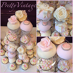 Vitnage cupcake tower for a wedding