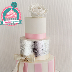 4 tier silver leaf and pink stripes Wedding Cake