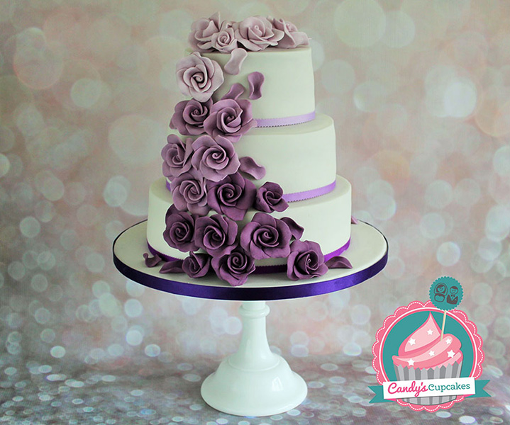 Wedding cakes cupcakes manchester candys cupcakes 3 tier ombre purple wedding cake junglespirit Gallery