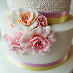 4 tier roses and ribbon wedding cake