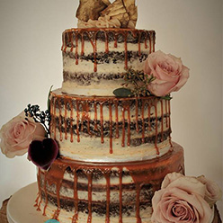 3 tier naked drippy wedding cake